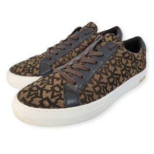 DKNY Mens Brown Patterned Casual Stylish Sneakers